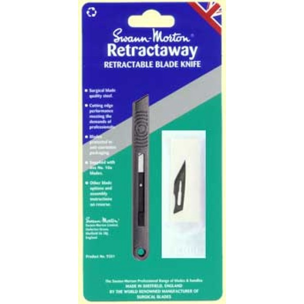 Swann morton retractaway craft knife with 5 x no 10a blades for Swann morton craft knife